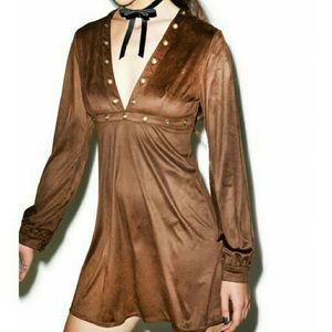 RE:NAMED BROWN SUEDED V NECK MINI DRESS LS SMALL